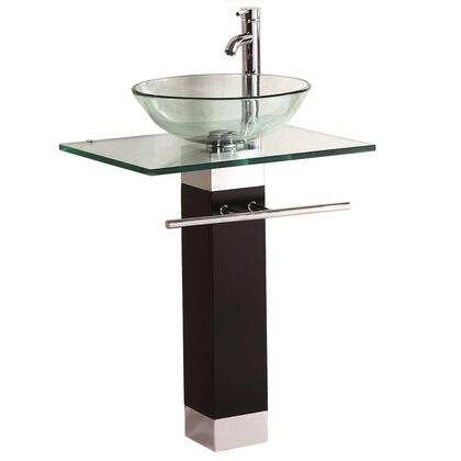WF-09 Bathroom Vanities Wood Pedestal Tempered Glass Vessel Sink