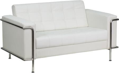 ZB-LESLEY-8090-LS-WH-GG HERCULES Lesley Series Contemporary White Leather Love Seat with Encasing
