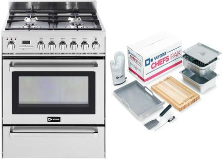 2-Piece Stainless Steel Kitchen Package with VEFSGE304PSS 30 inch  Freestanding Dual Fuel Range and Chefs