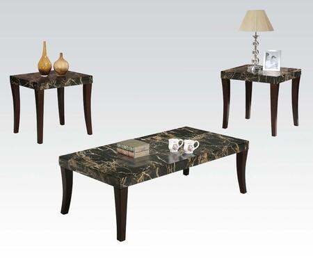 Gale Collection 80366 3 PC Living Room Table Set with Coffee Table  2 End Tables  Faux Marble Top and Tapered Legs in Black