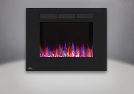 """Allure NEFL32FH 32"""" Linear Wall Mount Electric Fireplace with Glass Front  Front Vents  Clear Glass Embers and Heater with Up to 5 000 BTUs in"""