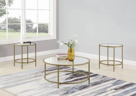 722351 3-Piece Living Room Table Set with Coffee Table  2 End Tables  Round Glass Tops and Metal Frame Construction in