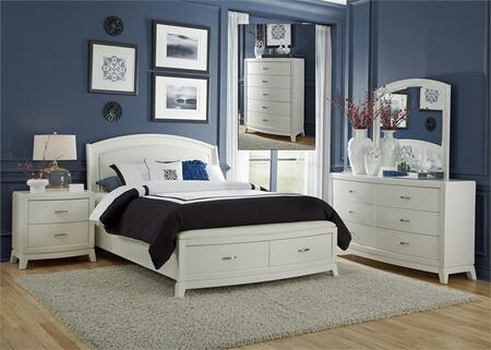 Avalon II Collection 205-BR-KSBDMCN 5-Piece Bedroom Set with King Storage Bed  Dresser  Mirror  Chest and Night Stand in White Truffle