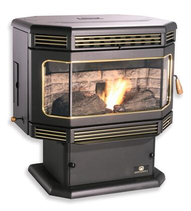 "SP2000PD 30"" Wide Tahoe 45 000 BTU Automatic Fuel Feed Pellet Stove in Black with 70 lbs Hopper 5 Heat Settings and Door in: Deluxe Gold"
