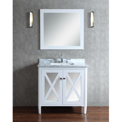 SCSUM36SWH Summit 36 Single-Sink Bathroom Vanity Set with Marble Top and Tapered Legs in
