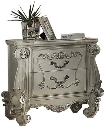 Versailles Collection 21133 35 inch  Nightstand with 2 Felt Lined Drawers  Scrolled Legs and Brown Copper Metal Decorative Hardware in Bone