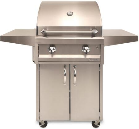 AAE32CNG Freestanding Grill with Two 20 000 BTU Stainless Steel U-Burners  Electronic Ignition  Two Warming Rack  and Convenient Thermometer  in Stainless