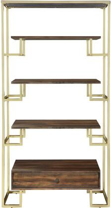 Home Accents Collection 950655 70 inch  Tall Etagere with 1 Drawer  3 Warm Walnut Shelves  Metal Hardware and Metal Frame in Brushed Brass