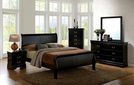 Louis Philippe Iii Collection Cm7866bktbedset 5 Pc Bedroom Set With Twin Size Sleigh Bed + Dresser + Mirror + Chest + Nightstand In Black