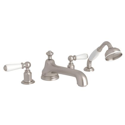 U.3737L-STN Four Hole Deck Mounted Tub Shower Set With Low Level Spout And Lever Handles: Satin
