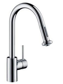 Hansgrohe 14877801 Talis S Easy Install 1-Handle 16 Tall Stainless Steel Kitchen Faucet with Pull Down Sprayer Magnetic Docking Spray Head, Steel Optic