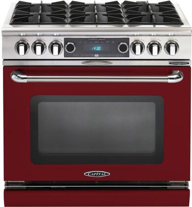 COB366RN 36 inch  Connoisseurian Series Freestanding Dual Fuel Electric Self-Cleaning Range with 4 Open Burners  4.6 Cu. Ft. Capacity  Flex Roller Racks  and