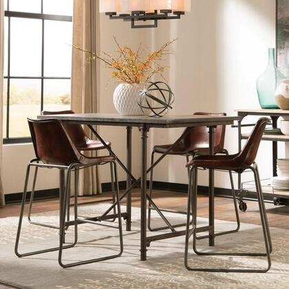 Antonelli Collection 106468ct 5 Pc Dining Room Set With Counter Height Table + 4 Counter Height Chairs In Reddish Brown And Dark Bronze