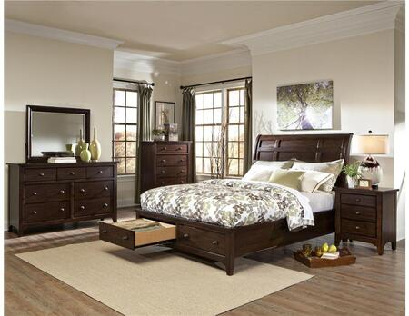 JK-BR-5050QS-RAI-C Queen Size Bed with Storage  Solid Wood Construction and Tapered Legs in Raisin