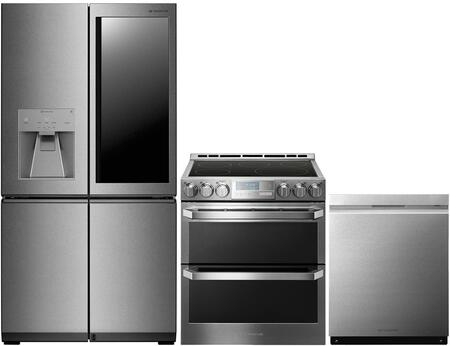 4-Piece Stainless Steel Kitchen Package with LUPXS3186N 36 inch  French 4 Door Refrigerator  LUTE4619SN 30 inch  Slide-In Electric Range and LUDP8997SN 24 inch  Fully