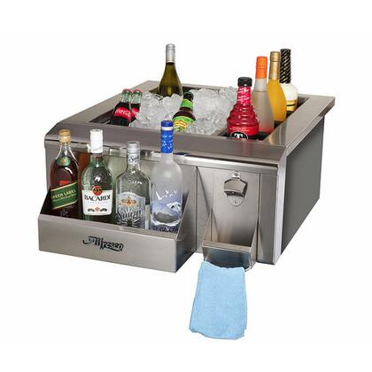 "AGBC-24 24"" Built-In Bartender and Sink System With 3"" Basket Drain and Stopper  1"" Thick Foam Insulation  60 lbs. Ice Capacity  Bottle Speed Rail  and Bottle"