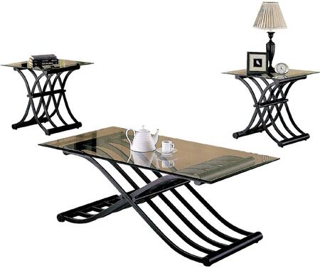 Wave Collection 02708 3 PC Living Room Table Set with 1 Coffee Table  2 End Tables  Clear Glass Top and Wave Design Metal Base in Black