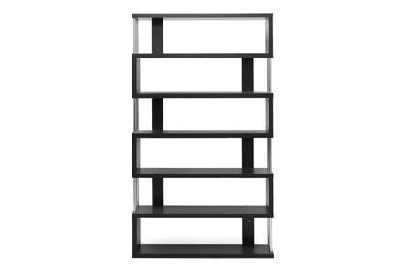 FP-6D Baxton Studio Barnes Six-Shelf Modern Bookcase  In Dark