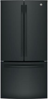 GE GWE19JGLBB 33 Inch Counter Depth French Door Refrigerator in Black