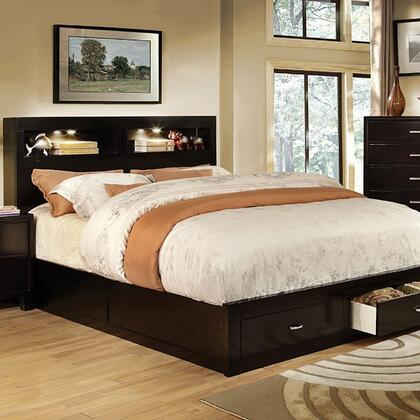 Gerico II Collection CM7291EX-Q-BED Queen Size Platform Bed with Storage Drawers  Bookcase Lighting Headboard  Solid Wood and Wood Veneer Construction in