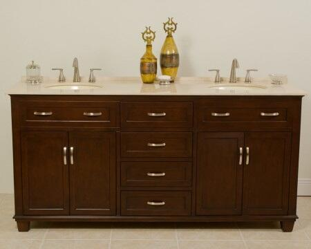 Tawanna 1017CL 72 inch  Double Sink Vanity with Cream Marfil Marble Top  1 inch  Backsplash  2 Porcelain Undermount Sinks  4 Felt-lined Drawers with Metal Roller Ball