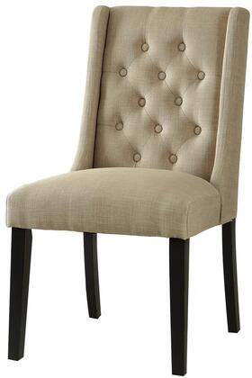 Brenda Collection 59766 Set of 2 20 inch  Side Chairs with Wingback Backrest  Black Tapered Legs  Full Foam Cushion  Eucalyptus Wood Frame and Linen Upholstery in