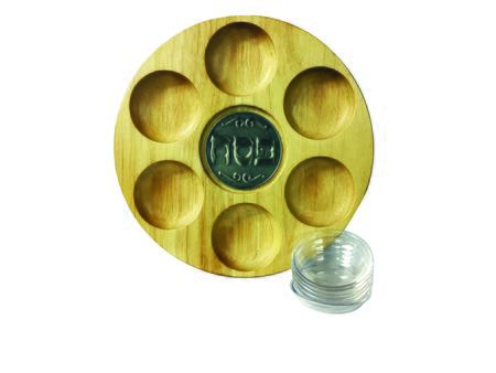 PT-599 10 inch  Round Wooden Passover Plate with Detailed Lettering  Metal Center and 6 Plastic