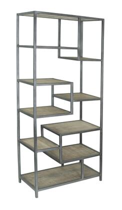 75326 35 inch  Bookcase with Metal Frame and Nine Wood Shelves in Bodhan Whitewash