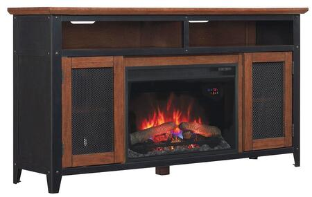 26MM4964-C296 Landis Electric Fireplace Entertainment Center with Side Cabinets  Wood Framed Doors  Glass Inserts and Integrated Wire Management in Old World