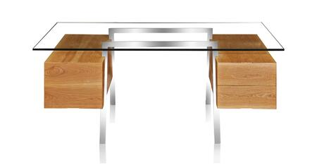 DESK-HOMEWORK-NAT Homework Desk Double Cube Mid-Century Modern  Ash Wood/Stainless