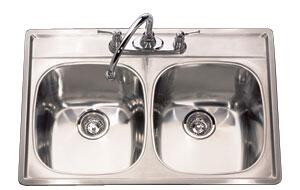 D2233/95K/4E 33 inch  Top Mount Double Bowl Stainless Steel Sink with Silk Finish  18 Gauge  4 Faucet