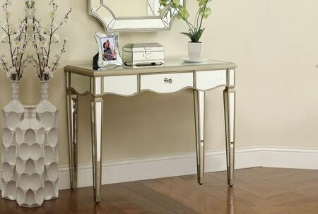 Selby Collection 90132 39 inch  Console Table with 1 Drawer  Crystal-Like Hardware  Mirrored Panels and Tapered Legs in Antique Silver