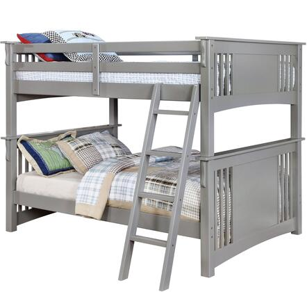 Spring Creek Collection CM-BK603GY-BED Full Size Bunk Bed with Angled Ladder  10 PC Slats Top/Bottom  Solid Wood and Wood Veneer Construction in Grey