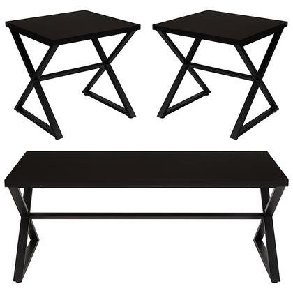 Larchmont Collection NAN-CEK-28-GG 3 Piece Coffee And End Table Set In Espresso Wood Finish And Black Metal