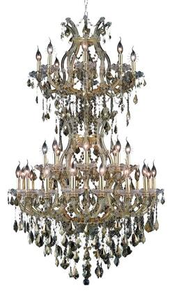 2800D36SG-GT/RC 2800 Maria Theresa Collection Large Hanging Fixture D36in H56in Lt: 32+2 Gold Finish (Royal Cut Golden Teak