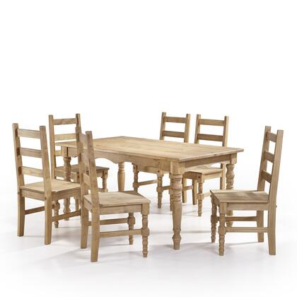 CSJ306 Jay 7-Piece Solid Wood Dining Set with 6 Chairs and 1 Table in
