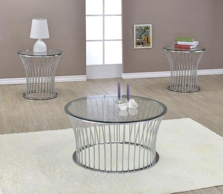 Katya 81100CE 3 PC Living Room Table Set with Coffee Table + 2 End Tables in Chrome