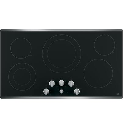 "GE 36"" Built-In Electric Cooktop Stainless Steel-on-Black JP3536SJSS"
