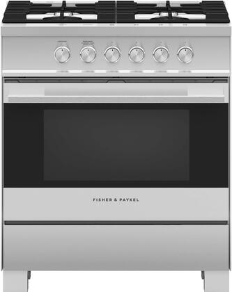 Fisher Paykel OR30SDG4X1 30 Freestanding Gas Range with 4 Burners, Sealed Cooktop, 3.5 cu. ft. Primary Oven Capacity, Storage Drawer, Convection Oven, Continuous Grates, Viewing Window, Electronic Ignition in Brushed Stainless Steel with black glass