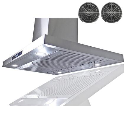 GIR0236 36 inch  Island Mount Range Hood with 870 CFM  65 dB  Innovative Touch  LED Lighting  3 Fan Speed  Stainless Steel Baffle Filter and Ductless: Stainless