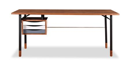 DESK-THEORY-WAL-GRY Color Theory Mid-Century Modern 3-Drawer Writing Desk 67