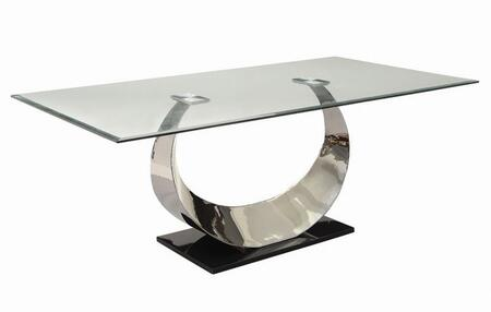 Manessier Collection 107051 78 inch  Dining Table with Tempered Glass Top  Beveled Edges  Horn Shaped and Stainless Steel Base in Chrome
