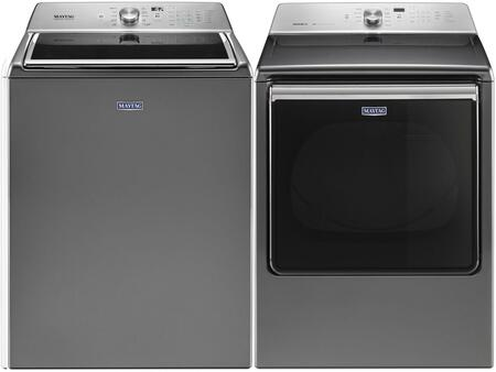 Metallic Slate Front Load Laundry Pair with MVWB865GC 28 inch  Washer 5.2 cu. ft. Capacity and MGDB835DC 29 inch  Gas