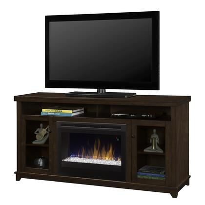 "Dupont Collection GDS25G5-1491KN 58"""" Media Console Complete with DFR2551G 25"""" Electric Firebox with Acrylic Ice  2 Glass Doors and 2 Open Storage Compartments"" 704805"