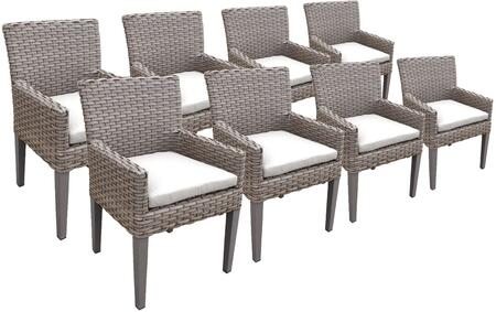 TKC297b-DC-4x-C-WHITE 8 Oasis Dining Chairs With Arms with 2 Covers: Grey and