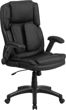 BT-90275H-GG Extreme Comfort High Back Black Leather Executive Swivel Office Chair with Flip-Up