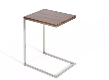 Soho Collection SOHO-LPT-MW 19 inch  Laptop Table with Walnut Wood Top and Brushed Stainless Steel Base in Medium