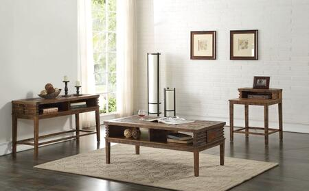 Andria Collection 83660SET 3 PC Living Room Table Set with Coffee Table + Sofa Table + End Table in Reclaimed Oak