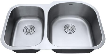 RVM4605 Undermount 16 Gauge 34 inch  Kitchen Sink Double Bowl - Right