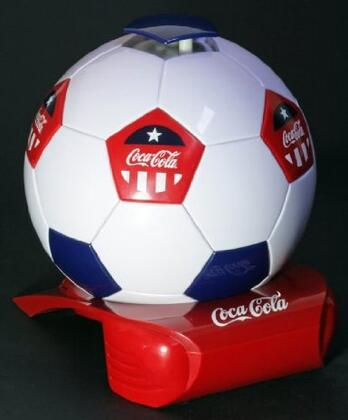CCSB5 Coca Cola Soccer Ball Cooler with State-Of-The-Art Thermoelectric Cooling and Push Top Lid in White  Red and